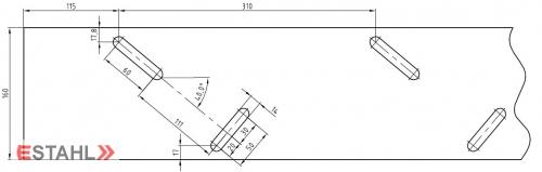 Treppenwange 4030 mm links für Gitterroststufen