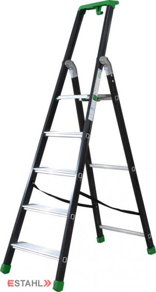 Stufenstehleiter schwarz-grün mit Epoxid-Lack, 8 Stufen