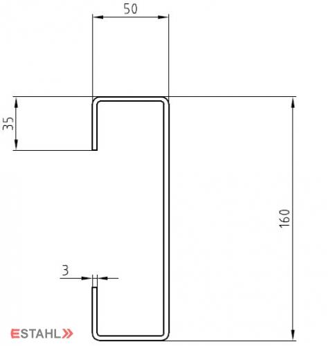 Treppenwange 4030 mm rechts für Gitterroststufen