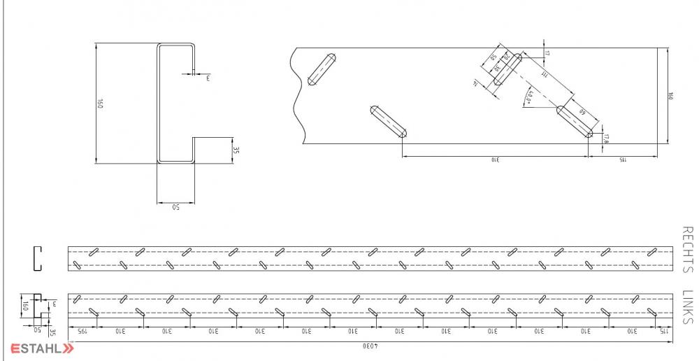 treppenwange f r max 13 gitterroststufen. Black Bedroom Furniture Sets. Home Design Ideas