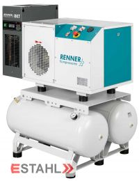 Schraubenkompressor RSDK-B 5,5 mit 2 x 90 Liter Druckluftbehälter & Kältetrockner