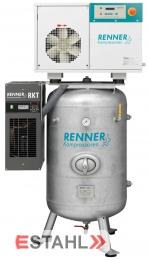 Schraubenkompressor RSDK- B 11,0 ST auf stehendem Druckluftbehälter mit Kältetrockner
