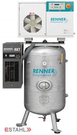 Schraubenkompressor RSDK- B 5,5 ST auf stehendem Druckluftbehälter mit Kältetrockner