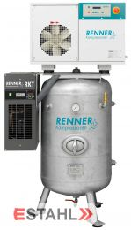 Schraubenkompressor RSDK- B 7,5 ST auf stehendem Druckluftbehälter mit Kältetrockner