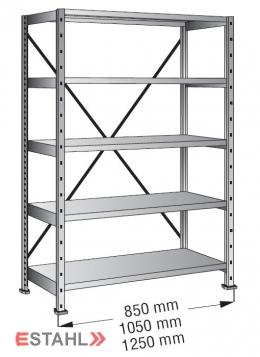 Industrieregal 800 mm x 200 mm x 2640 mm Standard verzinkt