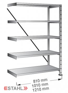 Industrieregal 1200 mm x 200 mm x 2640 mm Anbaufeld verinkt