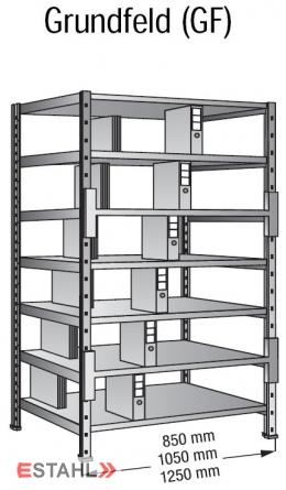 Ordner Doppelregal 1000 mm x 600 mm x 2280 mm Grundfeld verzinkt