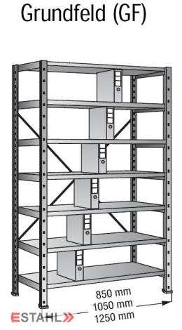 Ordnerregal 800 mm x 300 mm x 2640 mm Grundfeld verzinkt