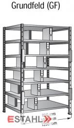 Ordner Doppelregal 800 mm x 600 mm x 2640 mm Grundfeld verzinkt