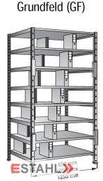 Ordner Doppelregal 1000 mm x 600 mm x 2640 mm Grundfeld verzinkt