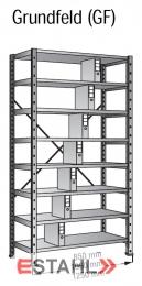 Ordnerregal 1200 mm x 300 mm x 2640 mm Grundfeld verzinkt