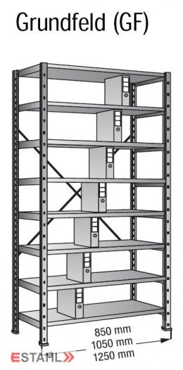 Ordnerregal 800 x 300 x 3000 mm Grundfeld verzinkt