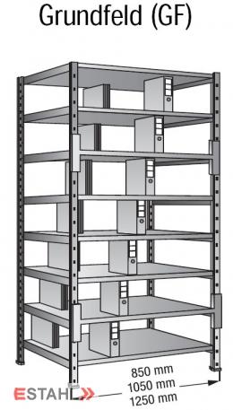 Ordner Doppelregal 800 x 600 x 3000 mm Grundfeld verzinkt