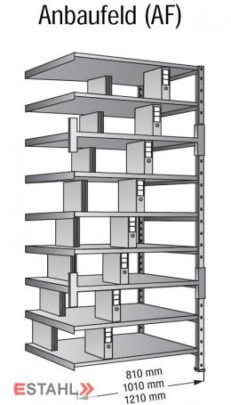 Ordner Doppelregal 1200 mm x 600 mm x 3000 mm Anbaufeld verzinkt