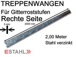 Treppenwange 2000 mm rechte Seite für Gitterroststufen