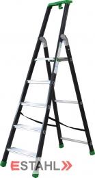 Stufenstehleiter schwarz-grün mit Epoxid-Lack, 5 Stufen