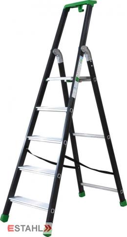 Stufenstehleiter schwarz-grün mit Epoxid-Lack, 6 Stufen