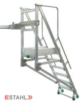 Schiebe - Podesttreppe, 5 Stufen + Plattform