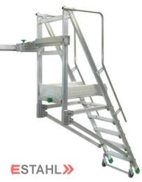 Schiebe - Podesttreppe, 6 Stufen + Plattform