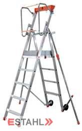 Podesttreppe mit Teleskop-Ausleger, 6 Stufen + Plattform