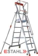 Podesttreppe mit Teleskop-Ausleger, 4 Stufen + Plattform