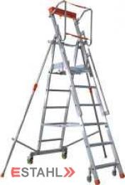 Podesttreppe mit Teleskop-Ausleger, 2 Stufen + Plattform
