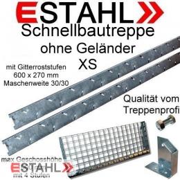 Schnellbautreppe XS / Gitterrost Stufenbreite 600 mm MW: 30/30