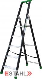 Stufenstehleiter schwarz-grün mit Epoxid-Lack, 3 Stufen