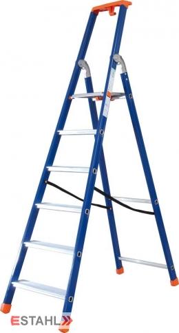 Stufenstehleiter blau-orange mit Epoxid-Lack, 5 Stufen