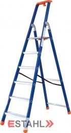 Stufenstehleiter blau-orange mit Epoxid-Lack, 7 Stufen