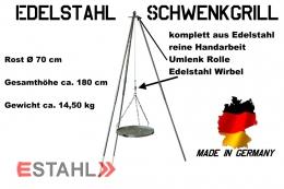 Edelstahl Dreibein-Schwenkgrill Ø 0,7 m